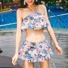Set: Floral Print Halter Bikini Top + Swim Skirt 1596