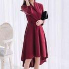 Elbow-Sleeve Ruffle Dress 1596