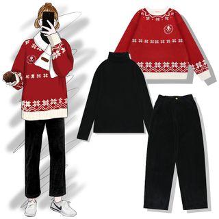 Turtleneck | Embroider | Sweater | Claus | Santa | Pant | Top