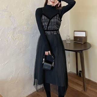 Long-sleeve Knit Top / Spaghetti Strap Tweed Midi A-line Dress / Set