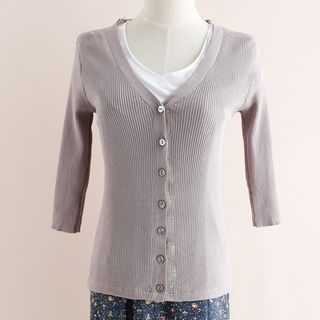 V-neck Ribbed Cardigan 1059428507