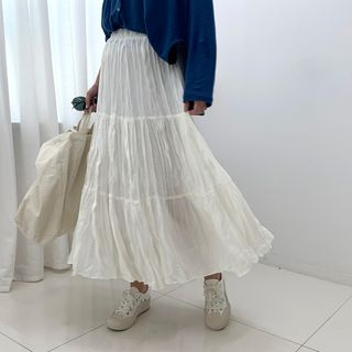 Image of Band-Waist Crinkled Tiered Skirt