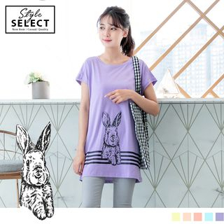 Sketched Rabbit Varsity Striped Longline Top 1060937016