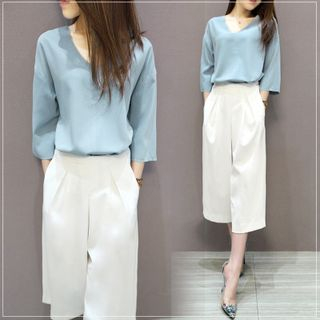 Set: 3/4-Sleeve Chiffon Top + Cropped Wide Leg Pants 1049628872