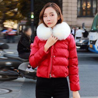 Faux Fur Trim Padded Zip Jacket