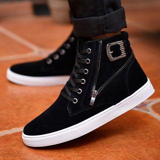 Image of Buckle Detail High-Top Sneakers