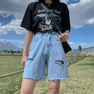 Image of Frayed Ripped Denim Shorts