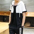 Set: Hooded Short-Sleeve Jacket + Capri Sweatpants 1596