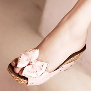 "Buy Kvoll Rhinestone ""Bow"" Wedge Sandals 1022747534"