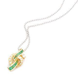 Image For 18K Yellow Gold Pendant with Diamonds and Emeralds