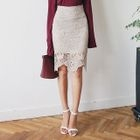 Crochet-Lace Pencil Skirt 1596