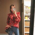 High-Neck Ruffled Floral Blouse 1596