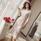 Long-Sleeve Chiffon Panel Midi Dress 1596