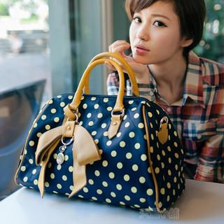 Bow-Accent Dotted Boston Bag