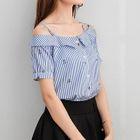 Short-Sleeve Off-Shoulder Striped Blouse 1596