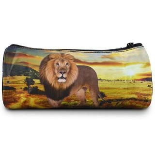 Product Image of Lion Printed Round Pencil Case Dark Khaki - One Size