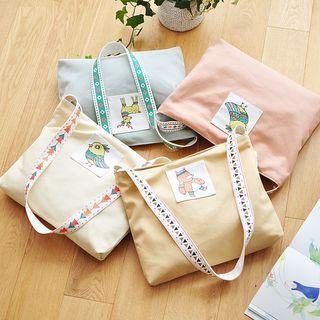 Image of Animal Print Canvas Shopper Bag