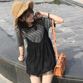 Set: Short-Sleeve Striped T-Shirt + Strappy A-line Dress 1059830716