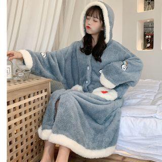 Embroider   Pajama   Dress   Hood   Blue   Size   One