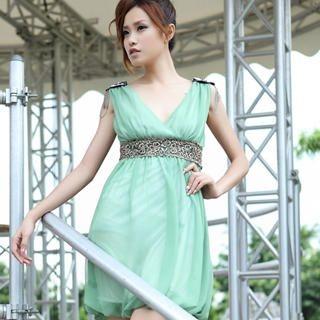 Buy 19th Street Sleeveless Embellished V-Neck Empire Dress 1023052506