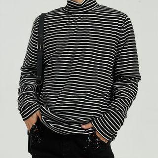 Long-sleeve Striped Mock-neck T-shirt