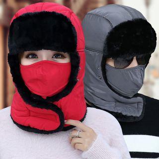 Image of Couple Matching Earflap Hat + Mask Set