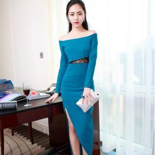 Slit Maxi Sheath Dress 1055096302
