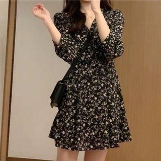 Long-sleeve | Floral | Dress | Print | Mini