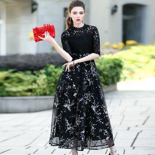 Lace-Panel Maxi Dress 1057003209