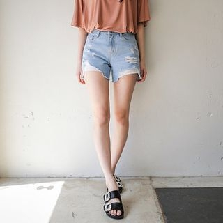 Distressed Washed Denim Shorts 1059708366