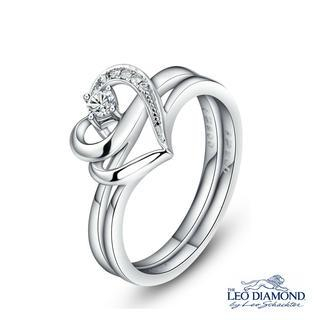 The Blissful Ring Collection - 18K White Gold Double Heart-Shaped Diamond Engagement Wedding Ring 6 picture