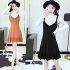Set: Plain Long Sleeve Knit Top + Knit Pinafore Dress 1596