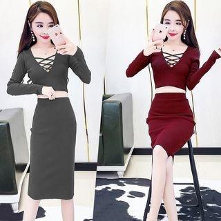 Set: Crisscross Cropped Long Sleeve Knit Top + Midi Knit Skirt 1062725019