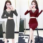 Set: Crisscross Cropped Long Sleeve Knit Top + Midi Knit Skirt 1596