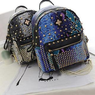 Studded Snake Print Backpack