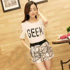 Set: Lettering Short-Sleeve Top + Print Shorts 1596