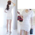 Short-Sleeve Ruched T-Shirt Dress 1596