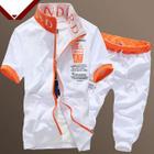 Set: Short-Sleeve Lettering Jacket + Cropped Lettering Sweatpants 1596