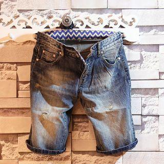 Washed Distressed Denim Shorts 1052809714