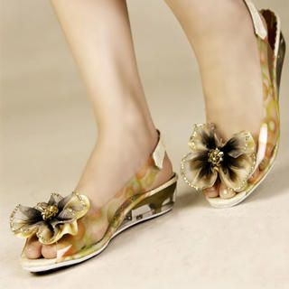 Buy Kvoll Flower Clear Slingback Wedges 1022991270