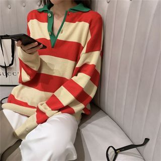 Striped Sweater As Shown In Figure - One Size