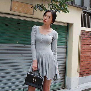 Long-Sleeve Handkerchief-Hem Ribbed Mini Dress 1061910203