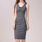 Lace Up Ribbed Knit Sleeveless Dress 1596