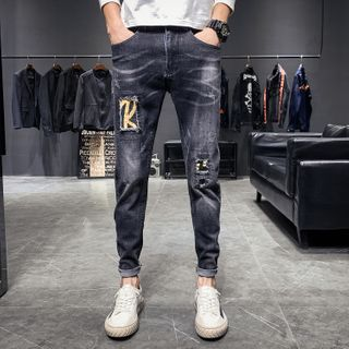 Image of Applique Distressed Cropped Jeans