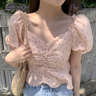 Image of Balloon-Sleeve Dotted Blouse As Shown In Figure - One Size