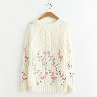 Embroidered Ribbed Long-Sleeve Knit Sweater 1061983203