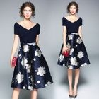 Short-Sleeve Panel Flower A-Line Dress 1596