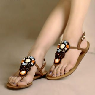 Buy Kvoll Genuine Leather Beaded Thong Sandals 1023069714