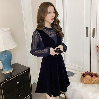 Set: Sheer Long-Sleeve Top + V-Neck A-Line Pinafore Dress 1063707097