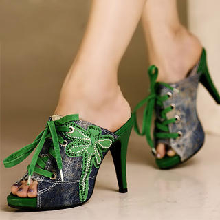 "Buy Kvoll Lace-Up Rhinestone ""Dragonfly"" Platform Mules 1023070675"